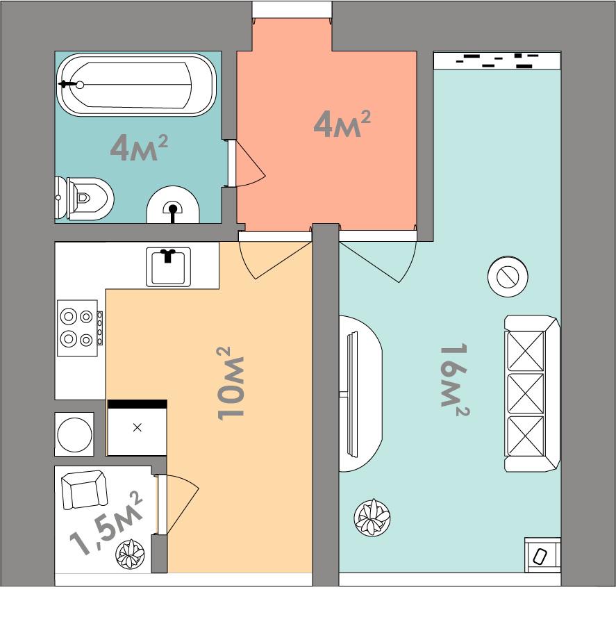Однокомнатная квартира 35.5 кв.м.