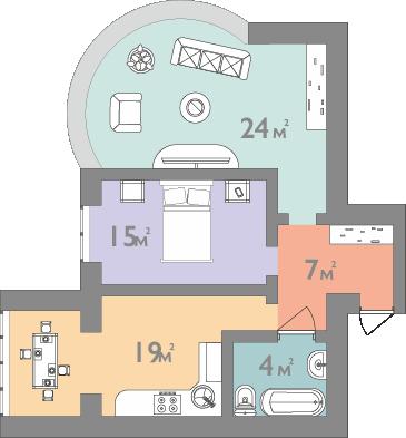 Планування двокімнатна квартира 71 кв.м.