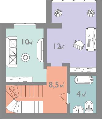 Планировка двухкомнатная квартира 70 кв.м.