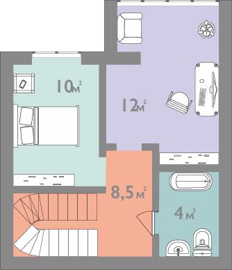 Планировка двухкомнатная квартира 70.5 кв.м.