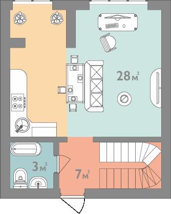 Планування двокімнатна квартира 76 кв.м.