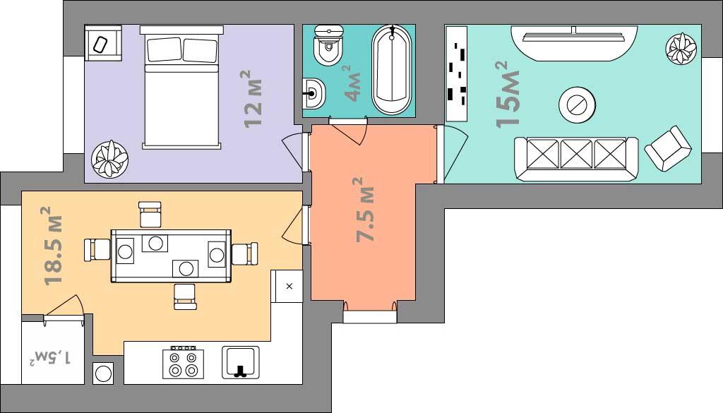 Двухкомнатная квартира 58.5 кв.м.
