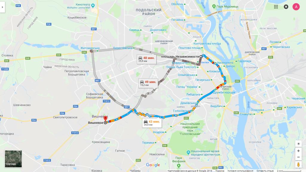 Как добраться в Вишнёвое из Киева