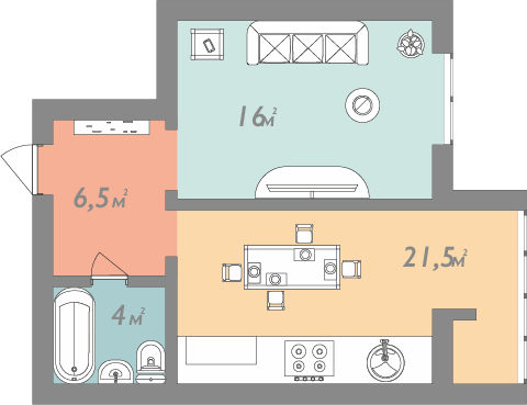 Планировка однокомнатная квартира 48 кв.м.