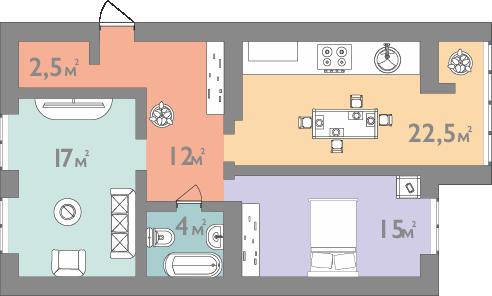 Планировка двухкомнатная квартира 73 кв.м.
