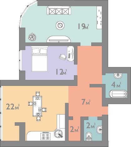 Планування двокімнатна квартира 75 кв.м.