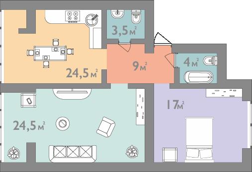 Планування двокімнатна квартира 82 кв.м.