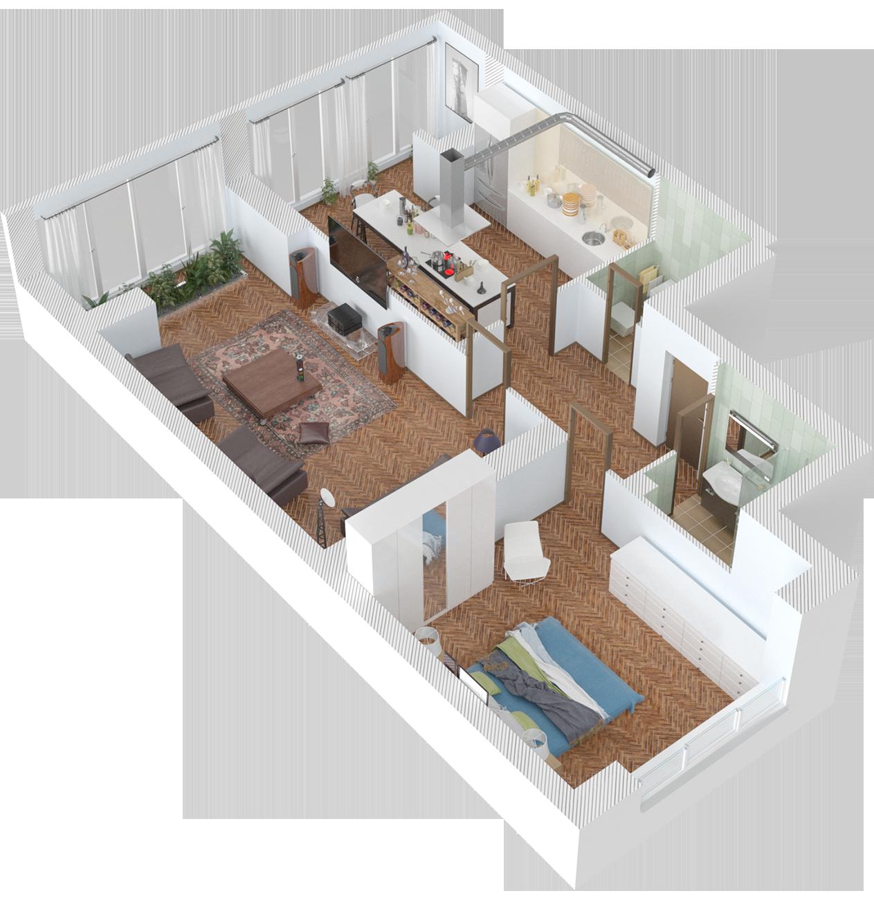 Планировка двухкомнатная квартира 82 кв.м.