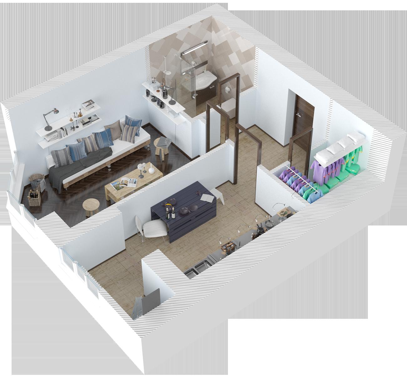 Планировка однокомнатная квартира 46 кв.м.