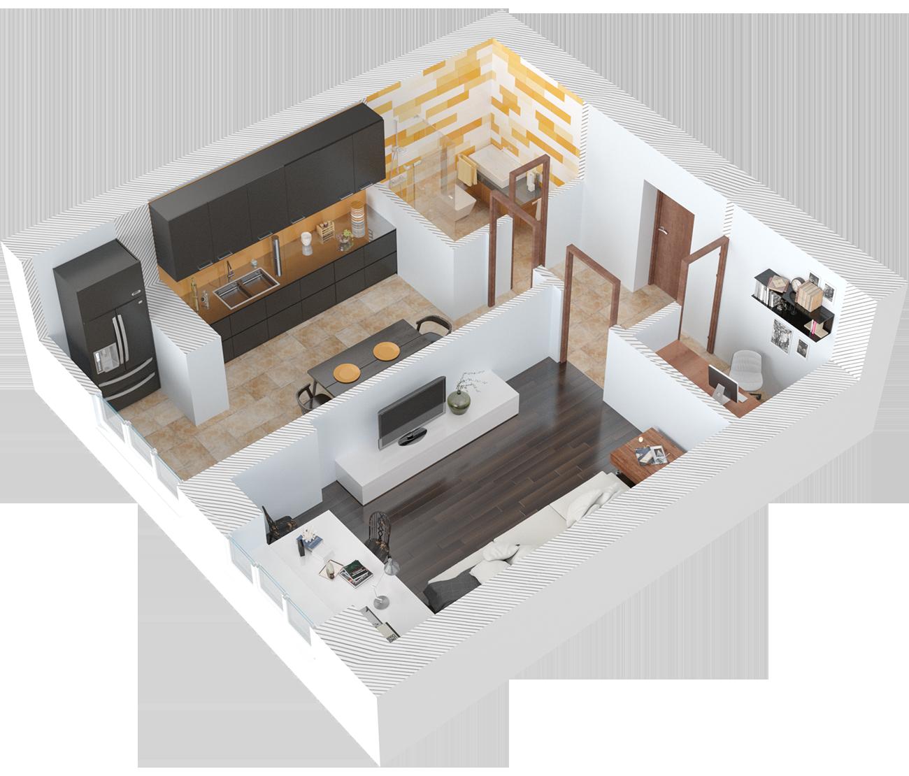 Планировка однокомнатная квартира 47.5 кв.м.