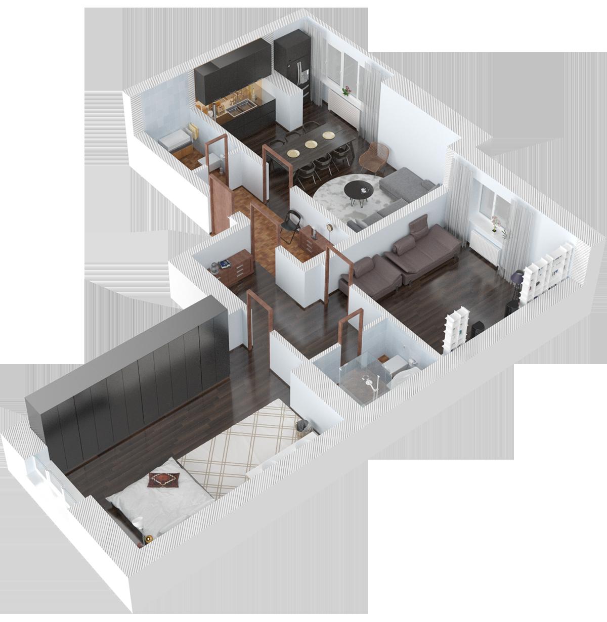 Планировка трехкомнатная квартира 87.5 кв.м.