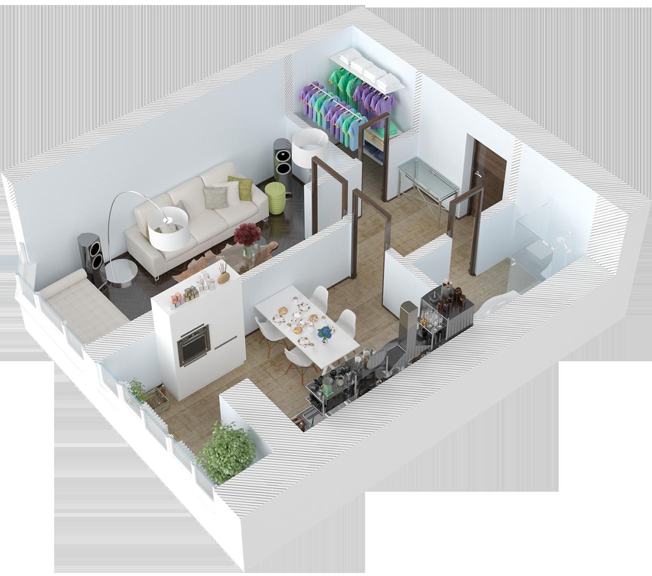 Планировка однокомнатная квартира 45 кв.м.