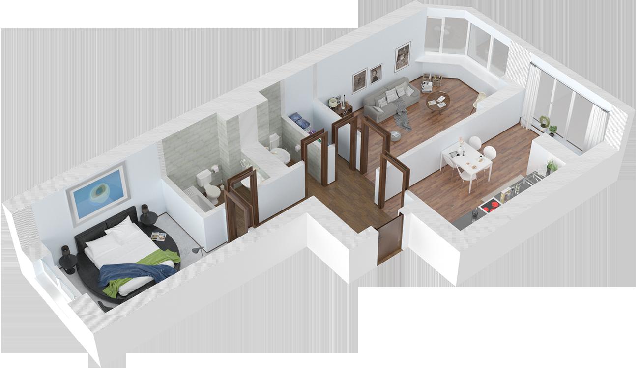 Планировка двухкомнатная квартира 65.5 кв.м.