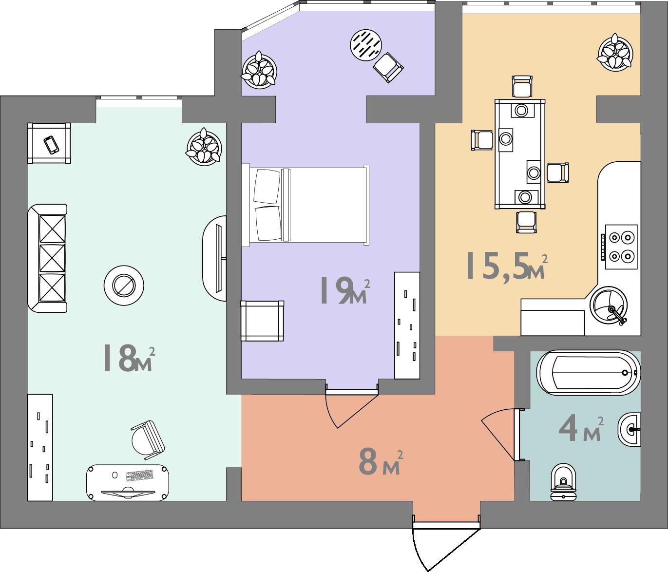 Планування двокімнатна квартира 64.5 кв.м.