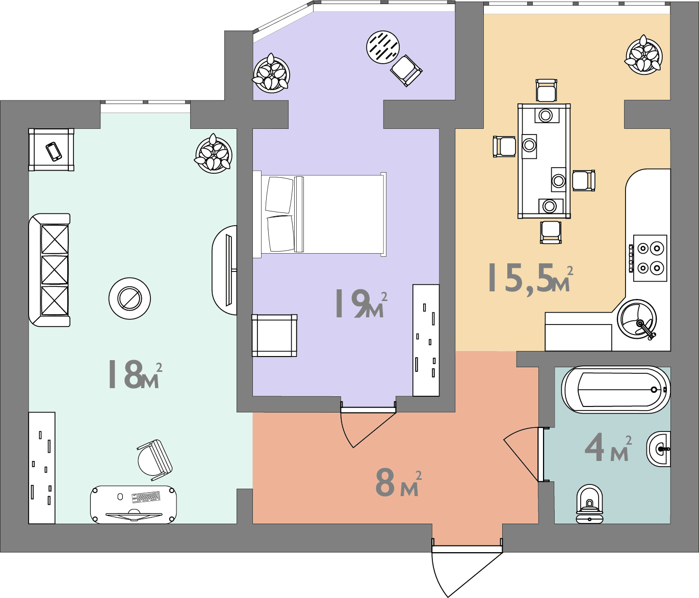 Двокімнатна квартира 64.5 кв.м.