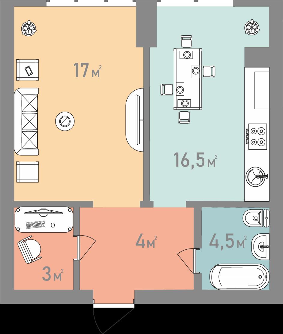 Однокімнатна квартира 45 кв.м.