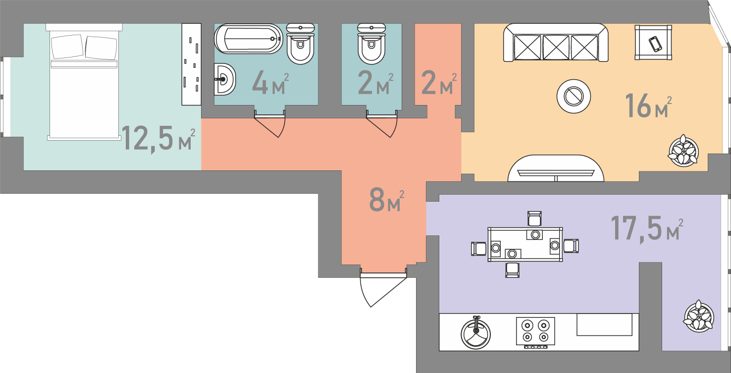 Двокімнатна квартира 62 кв.м.