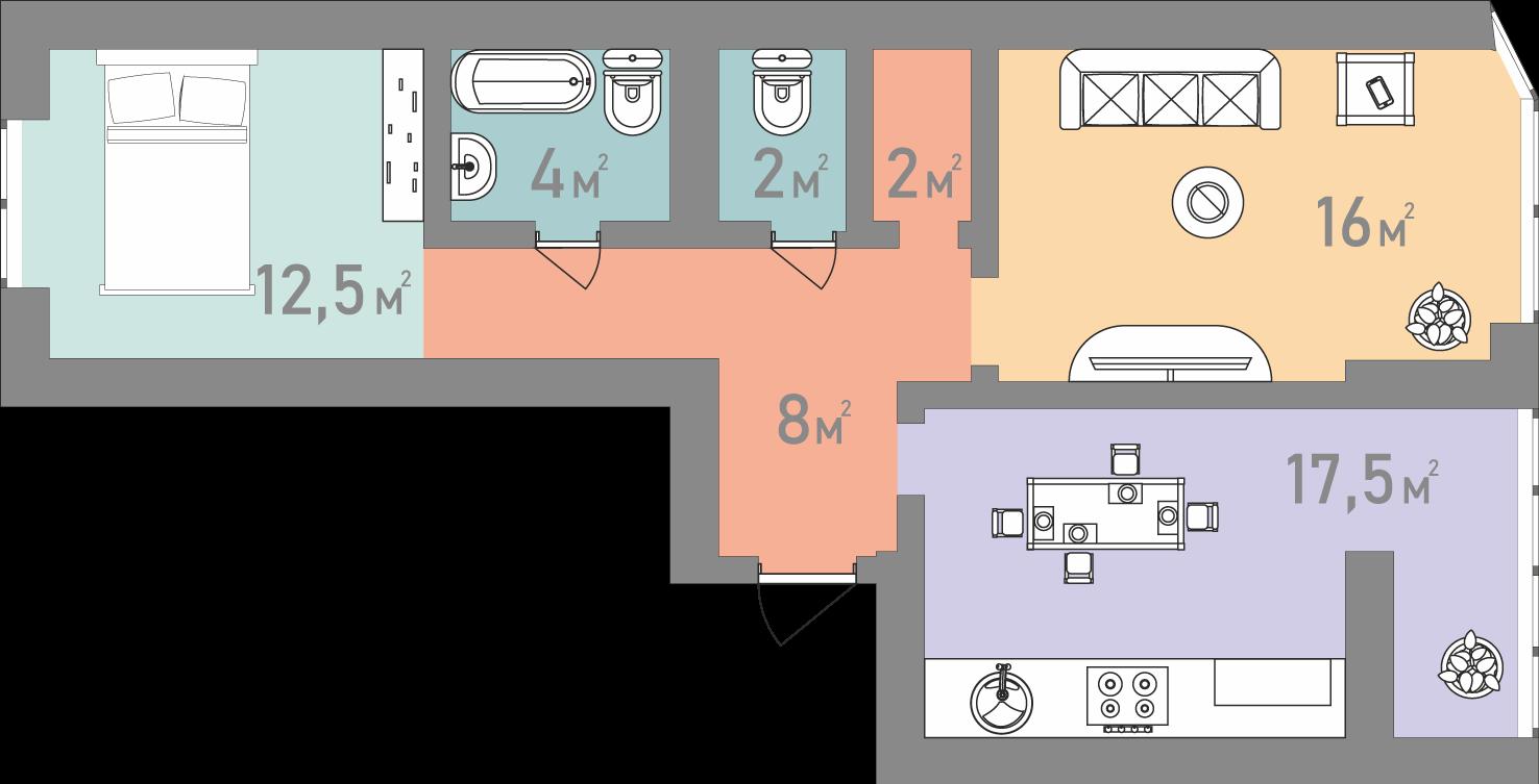 Двухкомнатная квартира 62 кв.м.