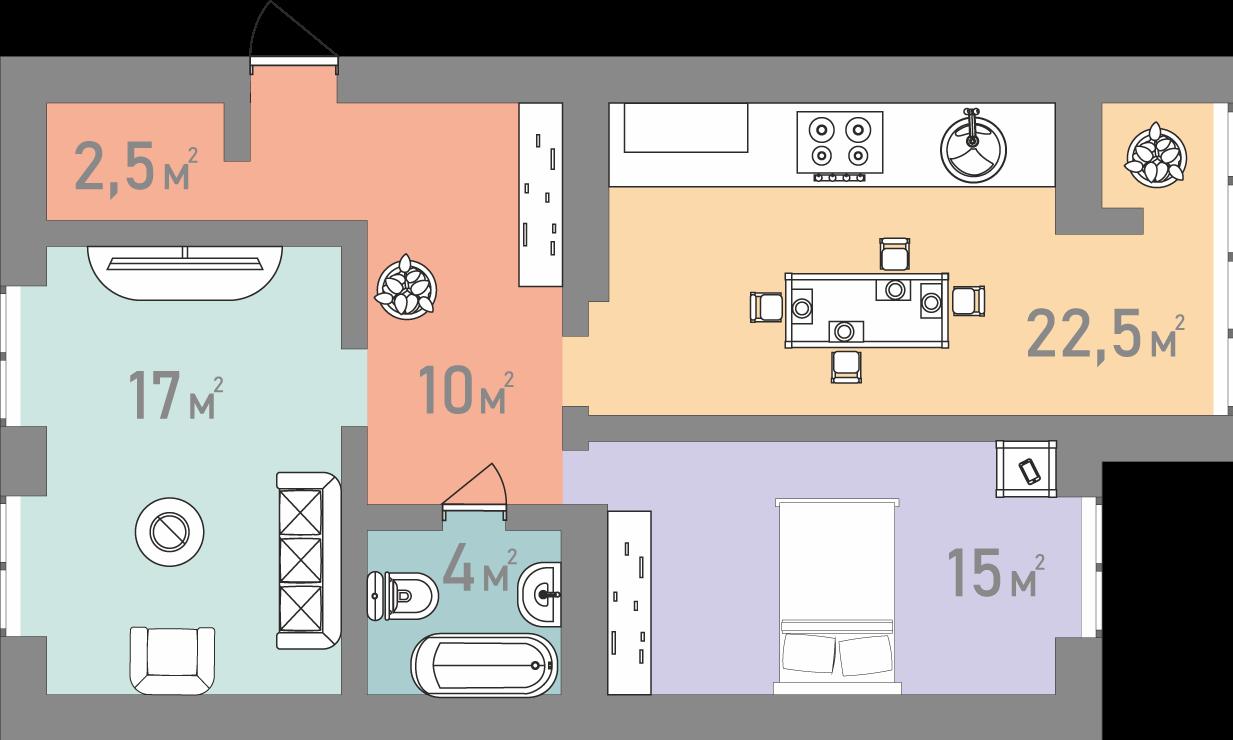 Двокімнатна квартира 71 кв.м.