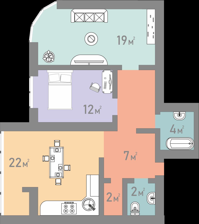 Двокімнатна квартира 73 кв.м.