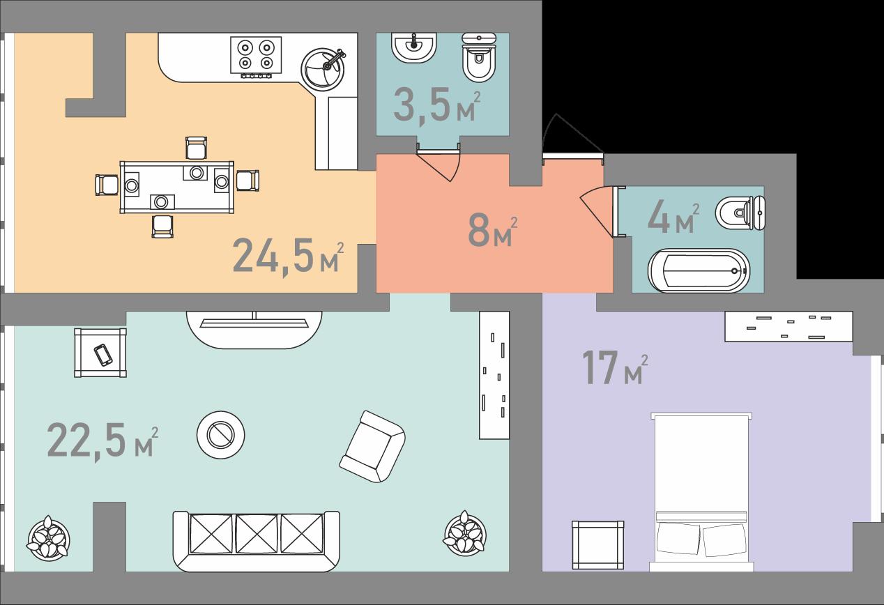 Двухкомнатная квартира 79 кв.м.