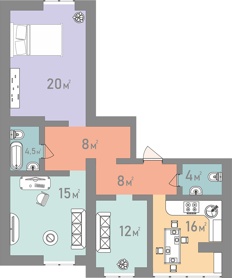 Трьохкімнатна квартира 87,5 кв.м.