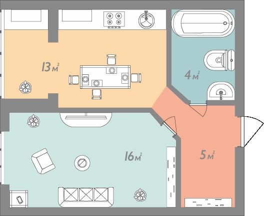 Однокомнатная квартира 35 кв.м.
