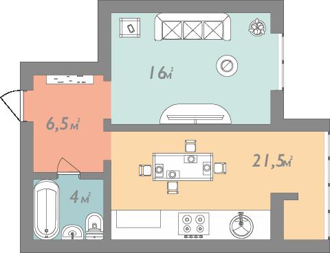 Однокімнатна квартира 48 кв.м.