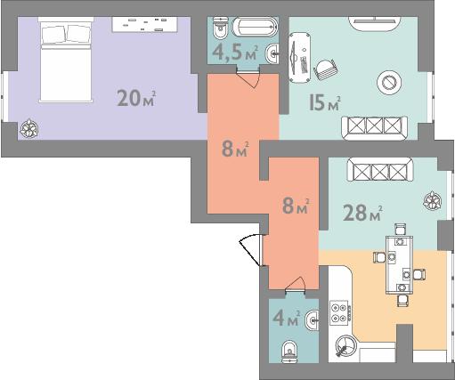 Трехкомнатная квартира 87,5 кв.м.
