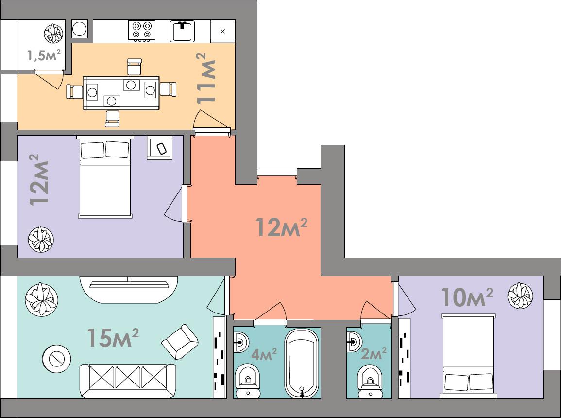 Трехкомнатная квартира 69.5 кв.м.