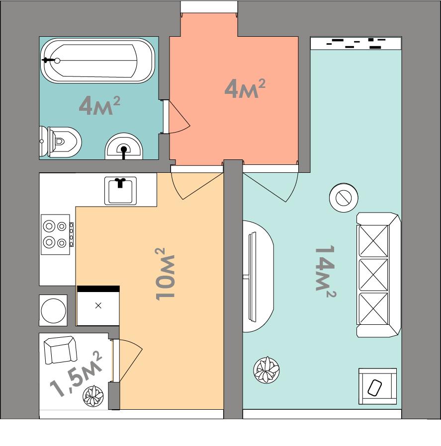 Однокімнатна квартира 33.5 кв.м.