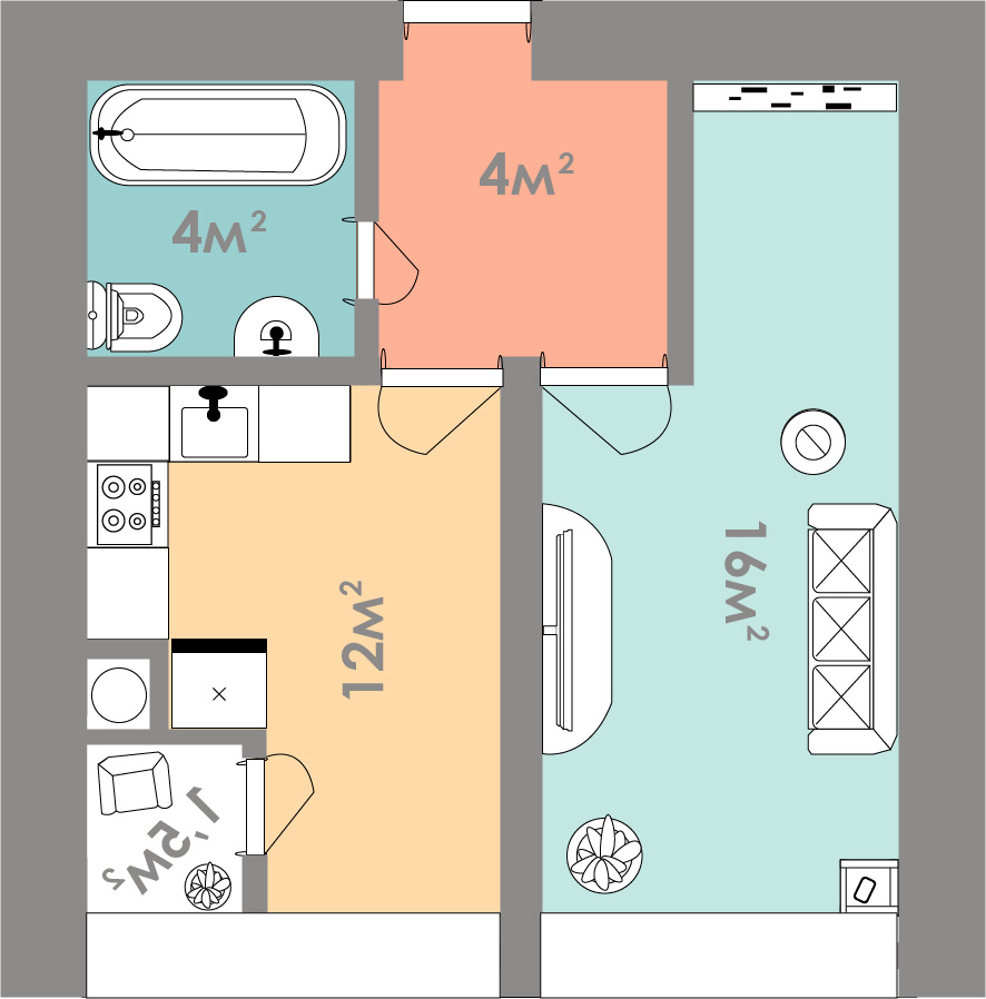 Однокомнатная квартира 37.5 кв.м.