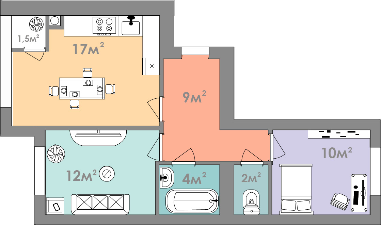 Двухкомнатная квартира 55.5 кв.м.