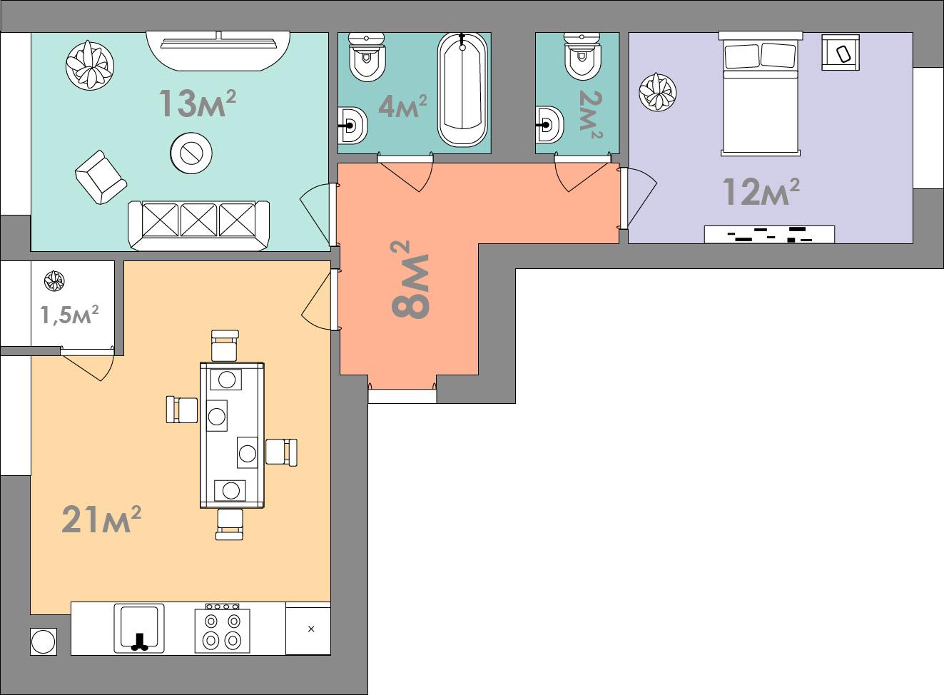 Двухкомнатная квартира 62.5 кв.м.