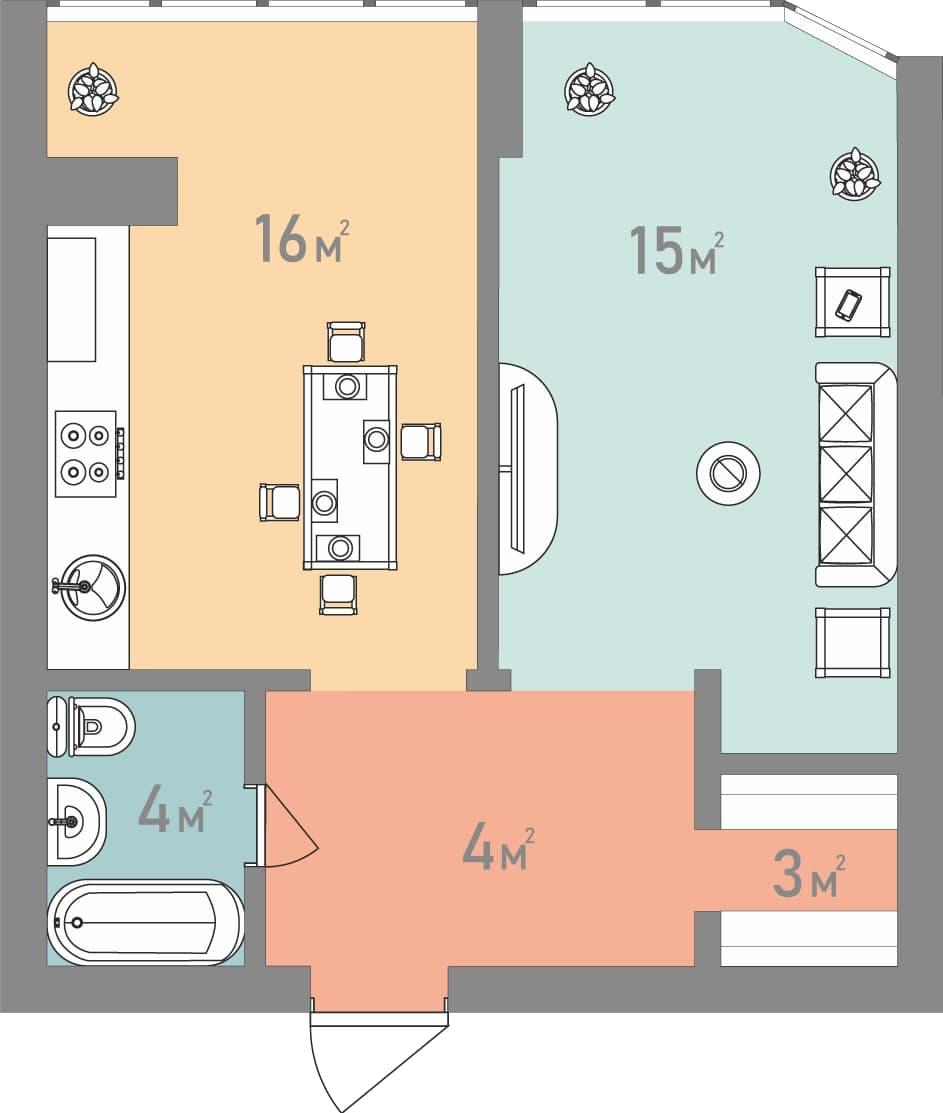 Однокімнатна квартира 42 кв.м.